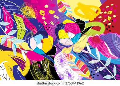 Vector tropical autumn background of different elements and leaves