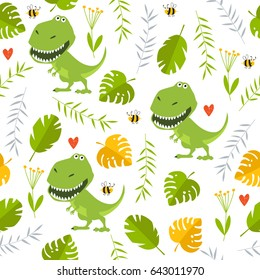 Vector tropical background with dinosaurs. Cartoon tyrannosaur rex. Cartoon character. a toy.