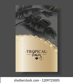 Vector tropical banner with black banana leaves and gold splashes on dark background. Luxury exotic botanical design for cosmetics, spa, perfume, aroma, beauty salon. Best as wedding invitation card