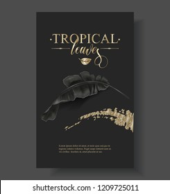 Vector tropical banner with black banana leaves and gold splashes on dark background. Luxury exotic botanycal design for cosmetics, spa, perfume, aroma, beauty salon. Best as wedding invitation card
