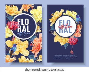 Vector tropical banners with bright flowers and hummingbird on dark blue. Exotic floral design for cosmetics, spa, perfume, health care products, wedding invitation. Best as summer background.