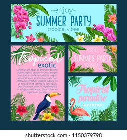 Vector tropical banners. Floral jungle summer background with birds pink flamingo and toucan, exotic leaf monstera, areca palm, royal fern and plumeria. Strelitzia, hibiscus, orchid or ginger flower.