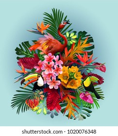 vector  of tropical birds and exotic plants and flowers, for travel advertising, vacation, banner, flyer, brochure.Elegant floral vector composition. A print for a tshirt. Tropical flowers