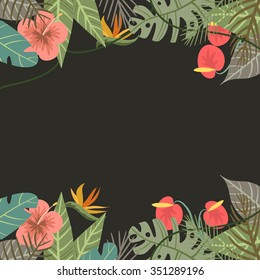 Vector tropical border frame with flower and palm leaves monkey on dark background