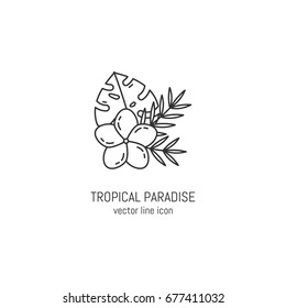 Vector tropical bouquet icon in linear style. Summer sticker