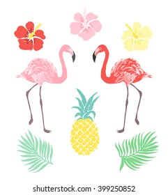 Vector tropical clipart set, flamingo, pineapple, hibiscus flower, palm leaf isolated on white background