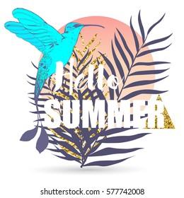 Vector tropical exotic bird summer print for t-shirt with slogan. Vector fashion print.