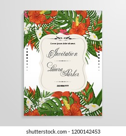 Vector tropical flovers and leaves background with palm branch,monstera leaf ,hibiscus.Template with tropical flovers design
