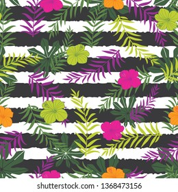 Vector tropical flowers and fern leaves on stripes background. Suitable for gift wrap, textile and wallpaper.
