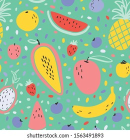 Vector tropical fruit background with durian, pineapple, mango, watermelon, dragon fruit, Pitaya, banana, papaya. Summer exotic fruit seamless pattern on stripes