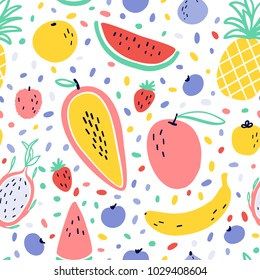 Vector tropical fruit background with pineapple, mango, watermelon, dragon fruit, banana, papaya. Summer exotic fruit seamless pattern with memphis style elements