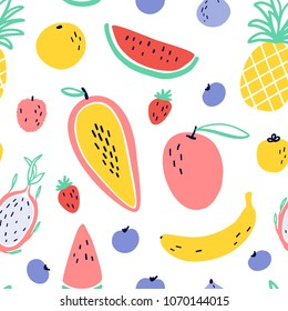 Vector tropical fruit background with pineapple, mango, watermelon, dragon fruit, Pitaya, banana, papaya. Summer exotic fruit seamless pattern with memphis style elements