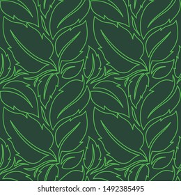 Vector of tropical green leaf. Linear flat color. Amazing seamless pattern graphic design background. Beautiful Color Compotition. Fashion, interior, wrapping, packaging suitable, fresh design.