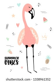 Vector tropical illustration of a flamingo with strawberry, pineapple, watermelon, hearts. Hand-drawn exotic poster for kids, holidays, clothes, decor, textile, fabric, cards. Summer vibes