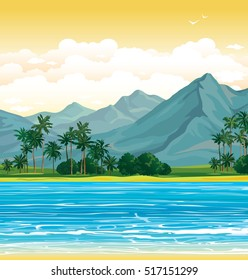 Vector tropical illustration. Landscape with mountains, palms and blue sea on a sunset sky. Wilderness nature.