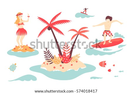 afd1688f632 Vector Tropical Island Surfer Dancer Clip Stock Vector (Royalty Free ...