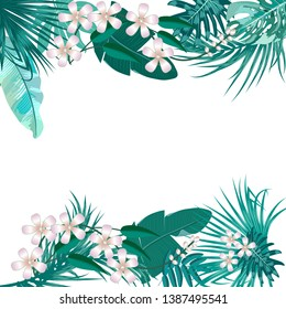 Vector tropical jungle cover with palm trees and leaves in quetzal green colors on white background for wedding,quotes, Birthday and invitation and greeting cards.