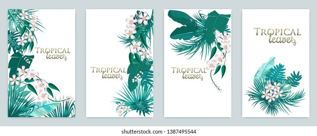 Vector tropical jungle cover set with palm trees and leaves in quetzal green colors for wedding,quotes, Birthday and invitation and greeting cards.