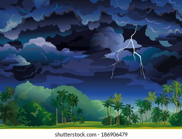 Vector tropical landscape. Stormy sky with lightning and coconut palms.