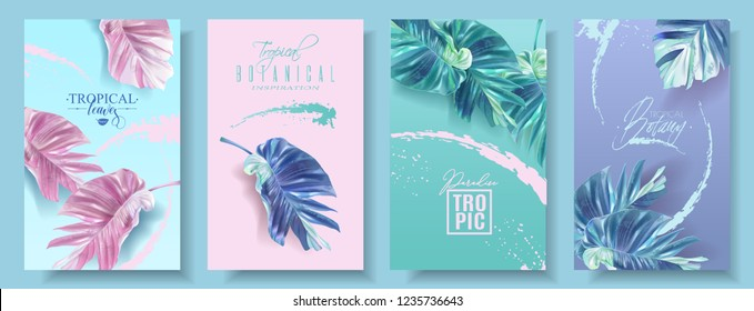 Vector tropical leaf banner set on bright background. Trending colors modern botany design for cosmetics, spa, perfume, health care products, fashion, aromatherapy, tourist agency, summer party