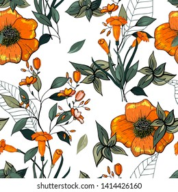Vector tropical leave wallpaper. Modern abstract floral illustration on light backdrop. Bright flower seamless pattern