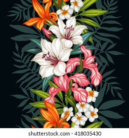 Vector tropical leaves and flowers  pattern. Hand painted illustration on black background. Frame border