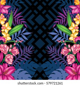Vector tropical leaves and flowers  pattern. Hand painted illustration on geometric background