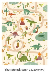 Vector tropical maze with dinosaurs in a jurassic park. Cartoon dinosaurs. Road in jurassic park. Game for children. Children's play mat. tyrannosaurus, pterodactyl, brachiosaurus, tricerathorps