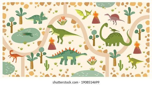 Vector tropical maze with dinosaurs in a jurassic park. Cartoon dinosaurs. Road in jurassic park. Game for children. Children's play mat. tyrannosaurus, pterodactyl, brachiosaurus, tricerathorps