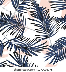 Vector tropical palm  leaves with grunge decoration. Exotic paint traces on background. Banana leaves dynamic pattern