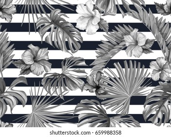 Vector Tropical palm leaves seamless pattern.  Jungle floral ornamental background. Florals for your poster, banner flayer, advertisement design. black on white on striped background