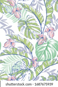 Vector tropical pattern with hibiscus flowers and exotic palm leaves. Trendy summer background. Summer floral illustration.