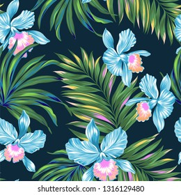 Vector tropical pattern on dark background. Juicy palms leaves with beautiful orchids.