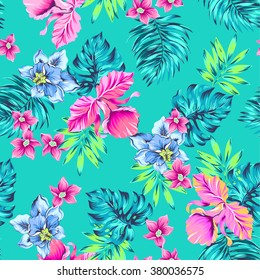 vector tropical pattern. seamless floral composition, vintage illustration, classical hawaiian motives: hibiscus, monstera, palm, leaves, flowers, plumeria, orchid