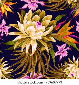 vector tropical pattern with waterlily, lotus flower. Amazing floral allover pattern, large beautiful vintage flower. Aloha flowers for stationary, wrapping, textile,interior, fashion