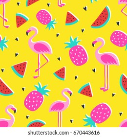 Vector tropical patternwith pink pineapple, flamingos, watermelon on yellow