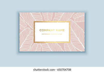 Vector tropical pink and gold business card. Exotic design for cosmetics, spa, perfume, health care products. Can be used as wedding or summer background