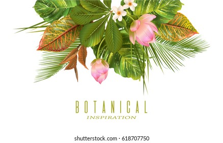 Vector tropical plants banner on white background. Exotic floral design for cosmetics, perfume, health care products, aromatherapy. Can be used as wedding invitation. With place for text
