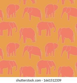 elefantes tropicales de coral juguetones vectoriales, sin fisuras repetir el patrón en el fondo amarillo soleado. Se utiliza para el diseño textil, las impresiones de moda, los papeles y los productos impresos a petición.