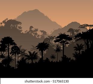 Vector tropical rainforest Jungle background