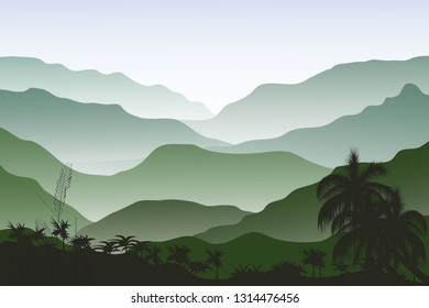 Vector Tropical Rainforest Jungle Mountains - Vector