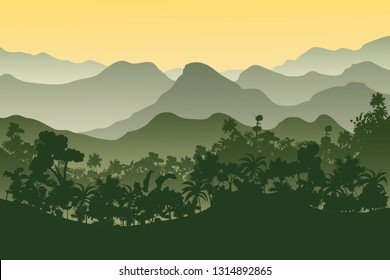 Vector Tropical Rainforest Jungle Mountains - Vector