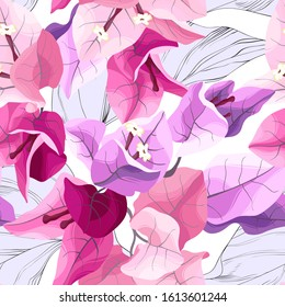 Vector tropical seamless pattern with bougainvillea. Exotic floral background design.