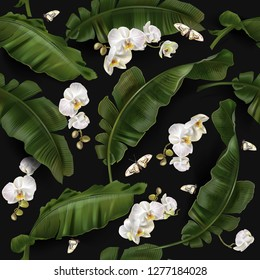 Vector tropical seamless pattern with green banana leaves and white orchid flowers on black background.  Best as wrapping, wallpaper
