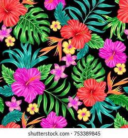Vector tropical seamless pattern with hibiscus flowers and leaves
