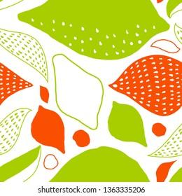 Vector tropical seamless Pattern with lemons. Scandinavian style. Summer desugn