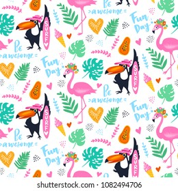Vector tropical seamless pattern with pink flamingo, toucan, tropic leaves.