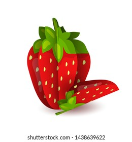 Vector tropical summer exotic fruit paper cut volumetric. Origami. Isolated color object on white background. Red tasty strawberry and slice