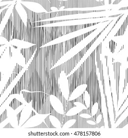 Vector tropical summer print, exotic jungle plant and palm leaves pattern. Floral black and white illustration on grunge background for design of card, wallpaper, textile etc.