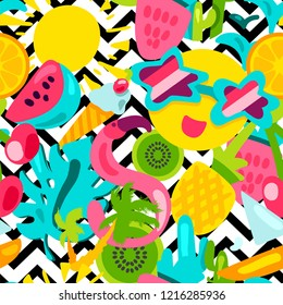 Vector Tropical Summer Seamless Pattern in doodle style with shape. Fruits and berries. Girl fashion sweet ornament design. Nice cartoon background. Fun wrap